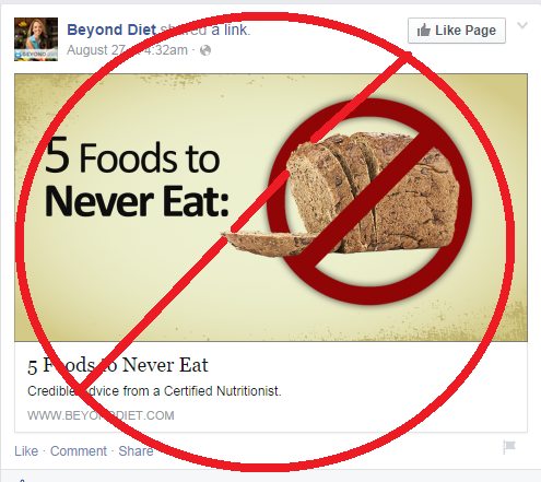 5 foods to never eat w FB trim banned sign